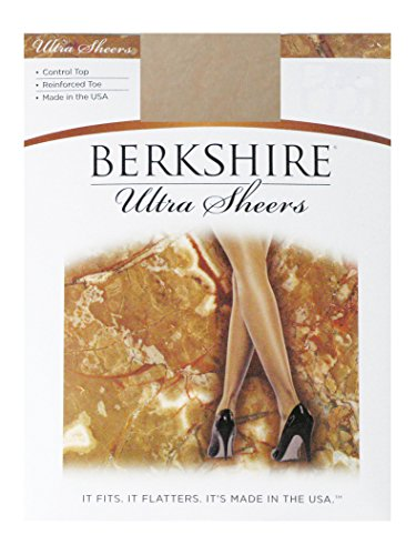 Berkshire Women's Ultra Sheer Control Top Pantyhose - Reinforced Toe, Creme Crepe, (Reinforced Toe Pantyhose)