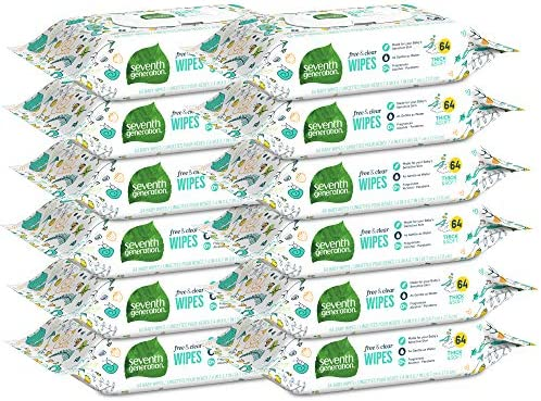 51PP3fAFOKL. AC - Seventh Generation Baby Wipes, Free & Clear Unscented And Sensitive, Gentle As Water, With Flip Top Dispenser, 768 Count (Packaging May Vary)