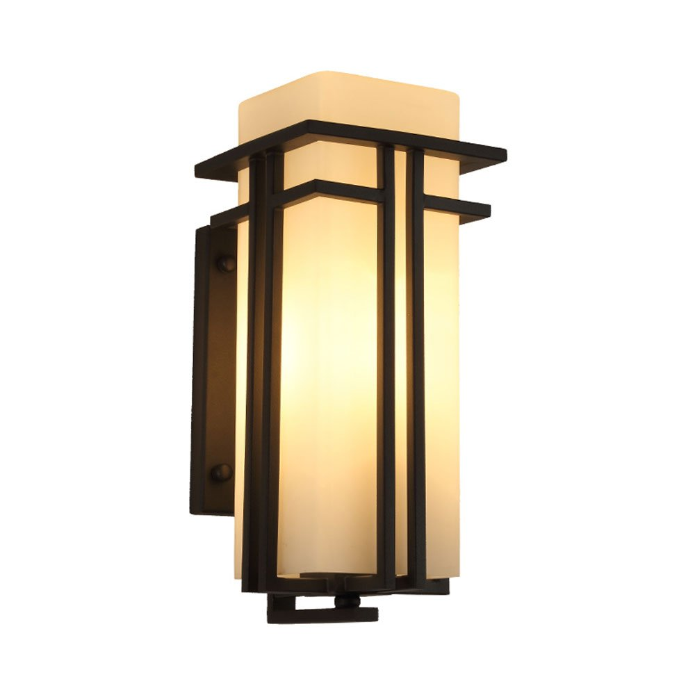 Simple And Modern New Chinese Outdoor Waterproof Iron Wall Lamp Creative Exterior Aisle Outdoor Balcony Corridor Garden Glass Wall Light ( Size : 31cm )