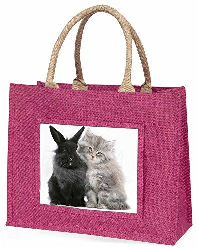 Advanta Süße Kätzchen mit Kaninchen Große Einkaufstasche/Weihnachtsgeschenk, Jute, pink, 42x 34,5x 2cm