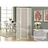 Candace & Basil FOLDING SCREEN - 3 PANEL / WHITE FRAME WITH FABRIC INLAY