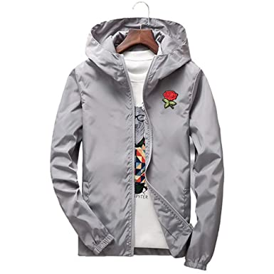 021a6f3e10 Rose Floral Jacket Mens Lightweight Windbreaker College Jackets at Amazon  Men's Clothing store:
