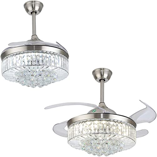 Modern Fandelier Crystal Retractable Ceiling Fans Light 3 Color change and Remote Invisible LED Crystal Chandelier Fan