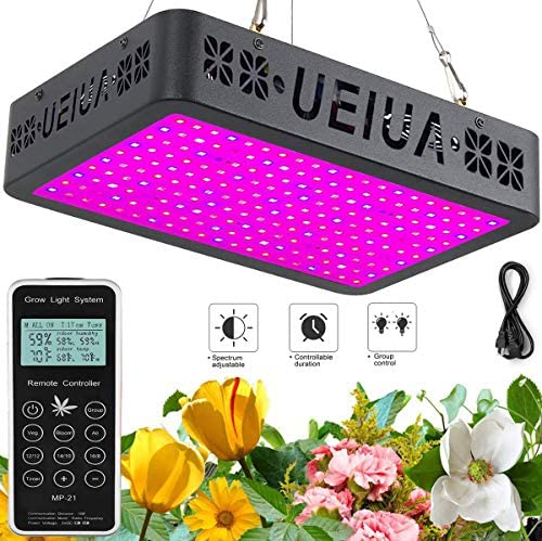 LED Grow Light, UEIUA 3000W Full Spectrum Remote Control Grow Lamp with Temperature-Humidity Monitor Group Control Timing Veg Bloom Switch Daisy Chain for Indoor Plants 10W OSRAM LEDs, 300PCS