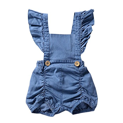 Sleeve Ruffle Bib (AliveGOT Newborn Infant Baby Girl Denim Ruffles Romper Jumpsuit Solid Flying Sleeve Bib Pants (6 Months))
