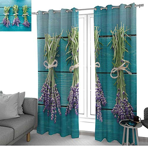 NUOMANAN Light Blocking Curtains Lavender,Fresh Lavender Bouquets on Blue Wooden Planks Rustic Relaxing Spa,Sky Blue Lavender Green,for Bedroom, Kitchen, Living Room 84