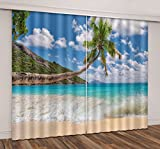 Cheap LB Tropical Beach 3D Window Curtains for Living Room Bedroom,Paradise Hawaii Beach with Palm Tree Blue Sea Water Room Darkening Window Treatment Blackout Window Drapes 2 Panels,52 x 84 Inches