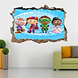Super Why Whyatt Beanstalk 3D Smashed Wall Sticker Decal Art Mural Kids J547, Regular