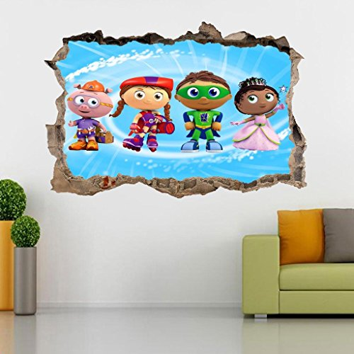 Super Why Whyatt Beanstalk 3D Smashed Wall Sticker Decal Art Mural Kids J547, Large