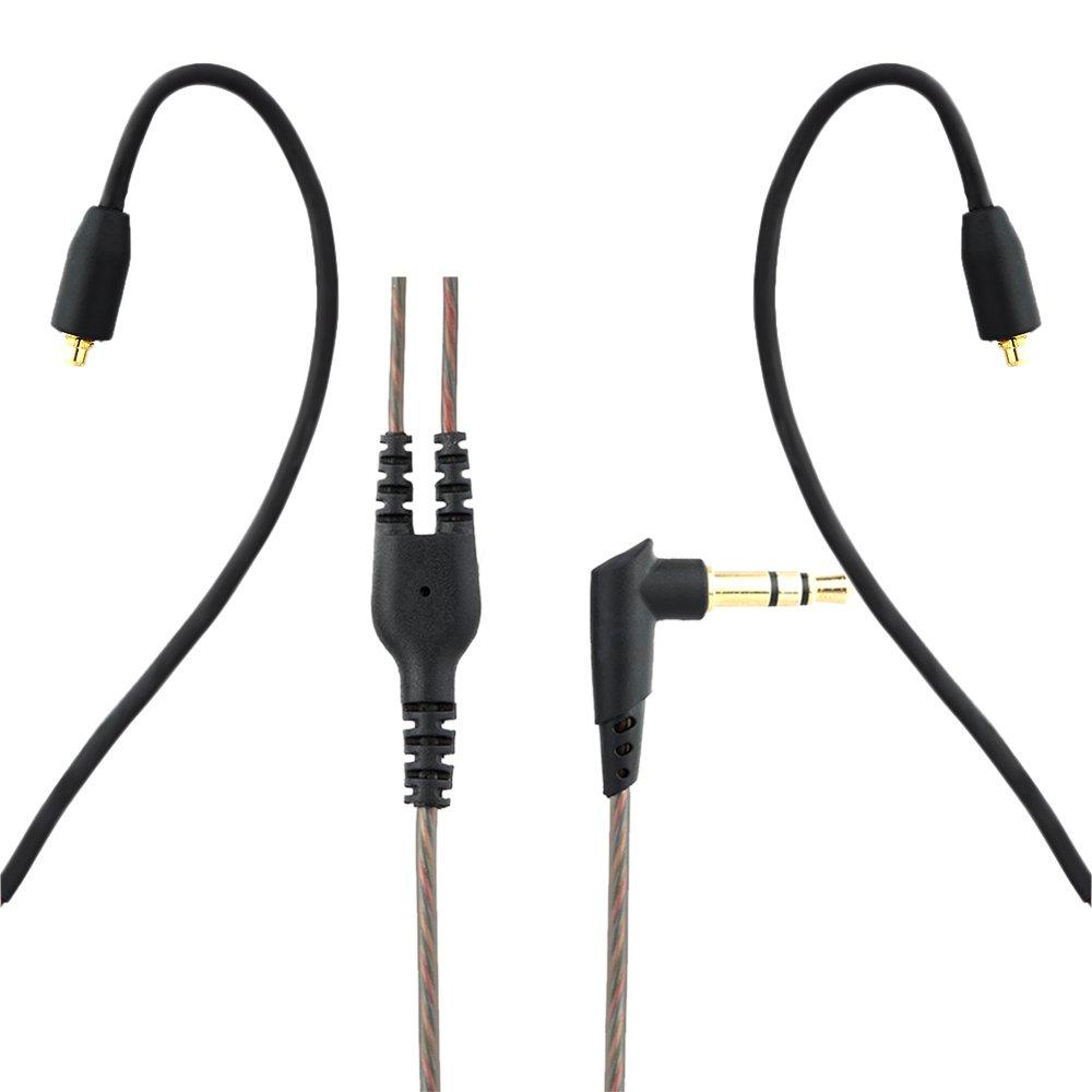 Conector MMCX Desmontable para Shure SE215 // SE315 // SE425 // SE535 UE900 Ultrazona IQ para Auriculares Sony Docooler Cable de Audio de Auriculares 3.5mm de Repuesto
