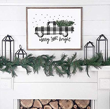 Plaid Truck Christmas Print Gingham Holiday Home Decor Accent Piece Red Black White Buffalo Check Farmhouse Wood Decor