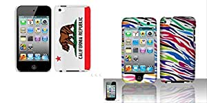Combo pack Cellet Proguard With California Flag for Apple iTouch 4 And For iPod Touch 4 Rubberized Design Cover - Colorful Zebra