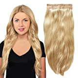 YONNA 3/4 Full Head 1 Piece 5 Clips Clip in Remy Human Hair Extensions Silky Straight Platinum Blonde (Color 613) 22 Inches 80 grams Review