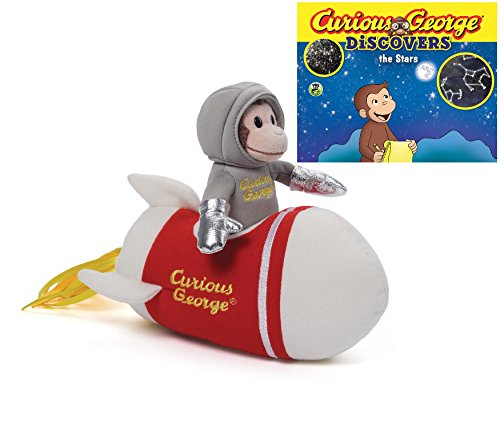 """Curious George 8 Inch Rocket Ship Plush, with """"Curious George Discovers the Stars"""" science story book"""