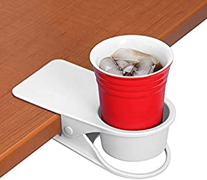 Twinsisi Drinking Cup Holder Clip - Home Office Table Desk Side Huge Clip Water Drink Beverage Soda Coffee Mug Holder Cup Potted Plant Headphones Date USB Cable Pen Storage Saucer Clip Design (white)
