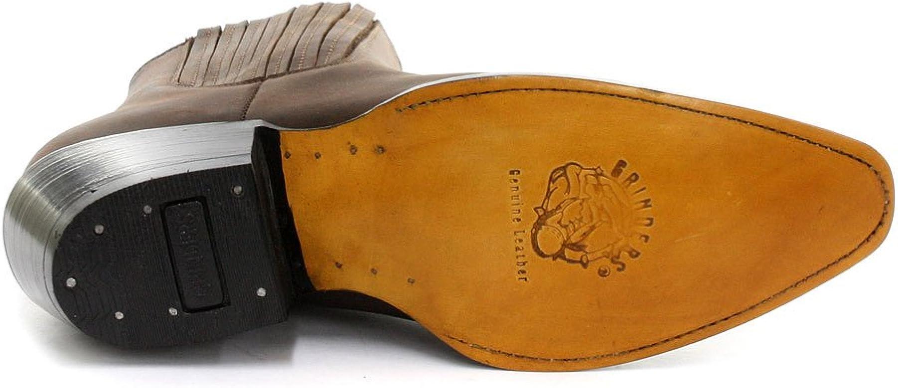 Men/'s GRINDERS MAVERICK Black Cowboy Western Slip-On Leather Ankle Boots Shoes