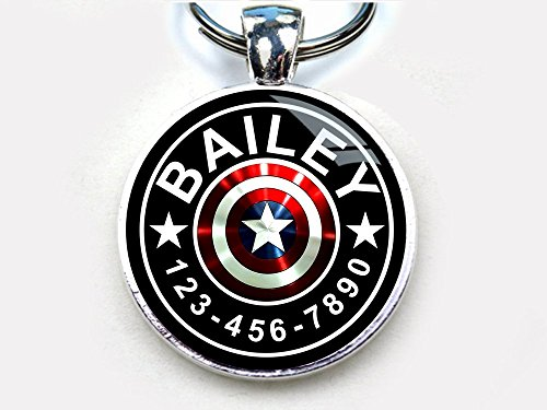 Captain America custom pet ID tag dog tag cat pet tag single sided with metal tray (large 1.5'') by Pet Tags