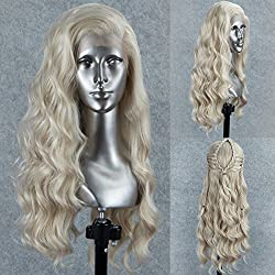 Persephone Glueless Platinum Blonde Lace Front Wig Wavy Fashion Long Light Blonde Synthetic Wigs for Women Half Hand Tied Repalcement Hair Wig 22 Inches