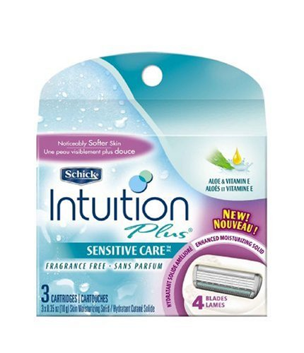 Schick Intuition Plus All-In-One Cartridges for Sensitive Skin, Fragrance Free, 3 Cartridges