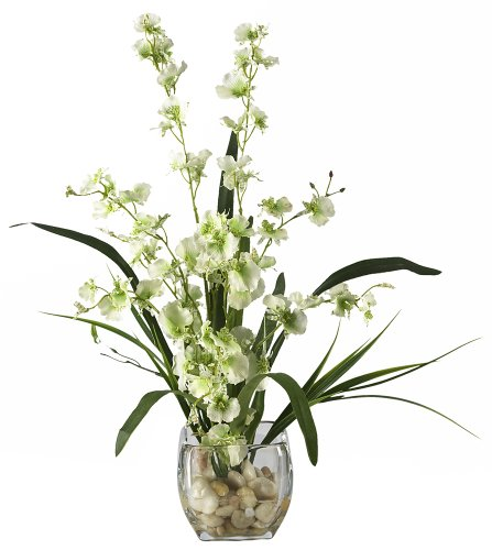 Green Flower Arrangements (Nearly Natural 1119-GR Dancing Lady Orchid Liquid Illusion Silk Flower Arrangement, Green)
