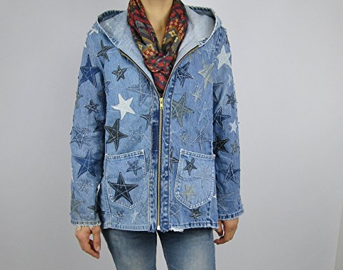 Hooded Denim Jacket Small with Star Applique by Recycled Seams