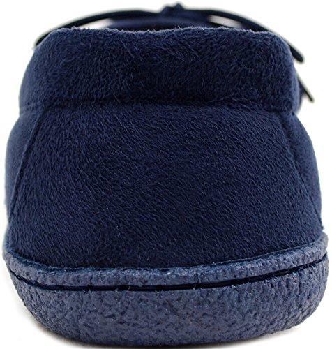 Pantoufles En Daim Souple Pour Hommes / Garçons / Chaussures Dintérieur Avec Attache Ajustable Marine