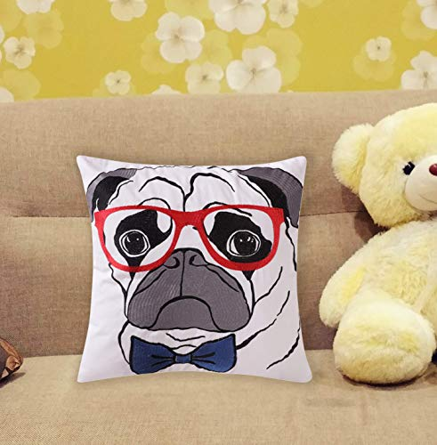 - Loom & Mill Christmas Decor Cartoon Dog Throw Pillow Case Embroidery Pillow Covers for Kids Room Sofa Car Couch Cushion Cover with Zipper Hidden 18 x 18 Inch - Pug Pattern