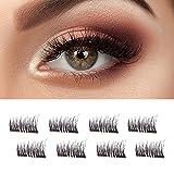[Updated] Double Magnetic False Eyelashes - No Glue Mess-Free Reusable - Beautiful Natural Enhanced Eyes, Volumized Lashes (4 Pair, 8 Pcs) (small)