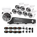 TMEZON 16Channel CCTV Security Surveillance Camera System 16CH HDMI DVR 8x 800TVL Night Vision Bullet Hi-Resolution Indoor/Outdoor Security Cameras with IR Cut P2P Remote Mobile Access