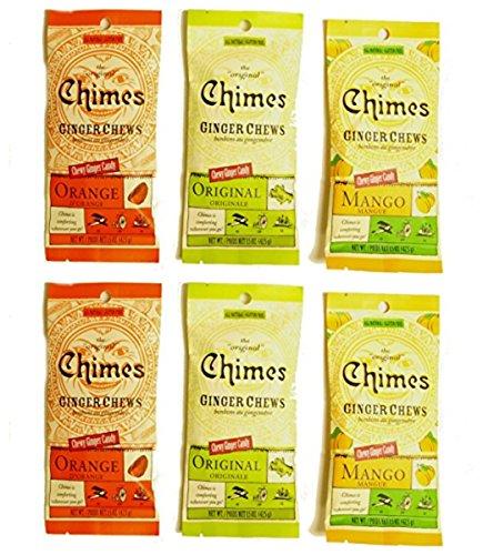 Chimes Ginger Chews - Variety Pack - Original, Mango, and Orange (Pack Of 6)