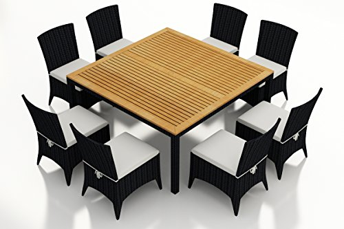 (Harmonia Living HL-AR-CB-9SDS-CN 9 Piece Arbor Square Dining Set, Canvas Natural Cushions)