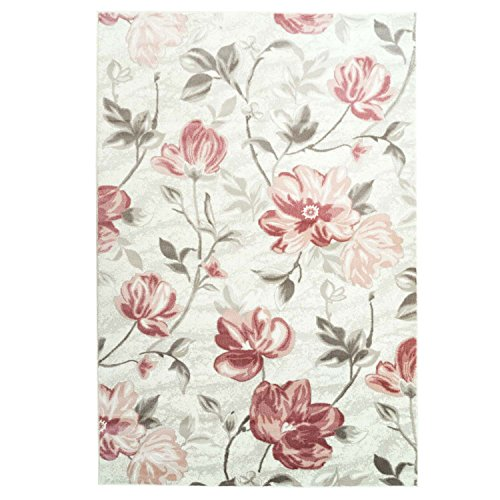 Floral Begonia Modern Contemporary Living Room Rug, Dining Area Rug, Bedroom Cream Carpet (7 x 10 (200cm x 290cm), Pink)