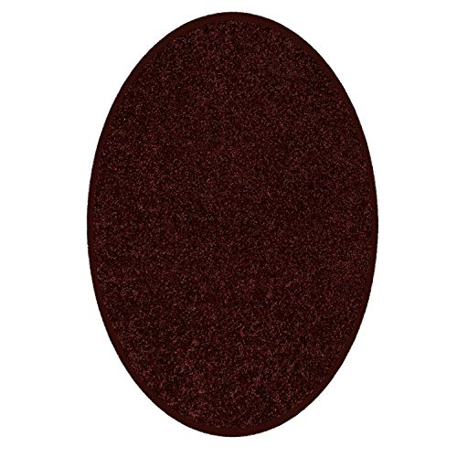 Dark Chocolate Oval Rug - Home Queen Solid Color Indoor Area Rugs, Chocolate - 6'x9' Oval