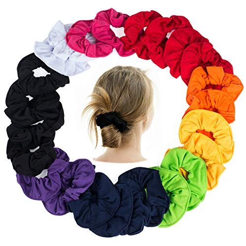CoverYourHair Pony Holders - Scrunchies for Hair - Scrunchy Hair Ties Bulk (Bright Colors 24 Pack) ()