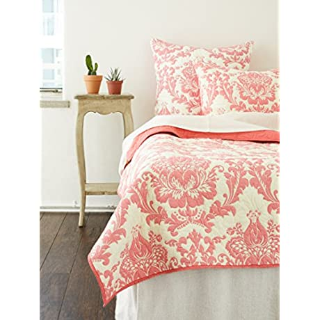 Be You Tiful Home Damask Quilt King Coral