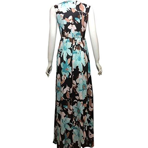SKY Celebrate for the Summer !!!Mujeres La Sra fresco vestido sin mangas largas de impresión y tierra Azul