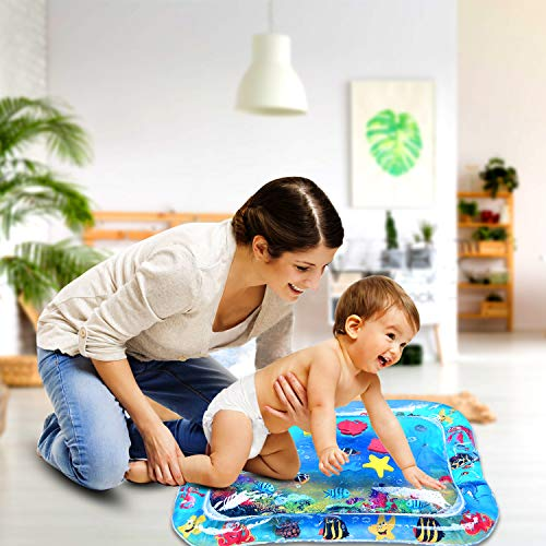 """Inflatable Tummy Time Premium Water Mat for Toddlers Kids Water Play Mat Infant Toy Inflatable Play Mat for 3 6 9 Months Newborn Boy Girl (26"""" X20'')"""