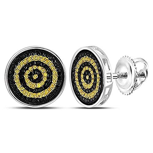 (Roy Rose Jewelry Sterling Silver Mens Round Yellow Black Color Enhanced Diamond Circle Stud Earrings 1/2-Carat tw)