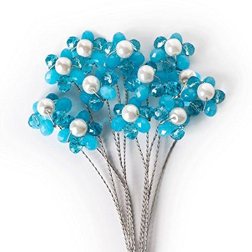 DIY Flower Bouquet Accents, Floral Arrangement Embellishments - Aqua, 12 Stems