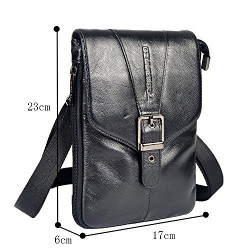 Genda 2Archer Hombres Mini Bolsa de hombro Cuero Flapover Fanny Cinturón de Bolsa (Negro) Negro