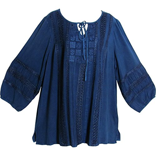 emian Stonewashed Embroidered Cotton Long Sleeve Peasant Blouse Top (14-16, Denim Blue) (Arizona Embroidered Long Sleeve)