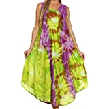 Sakkas 00831 Starlight Caftan Tank Dress/Cover Up - Green/Purple - One Size