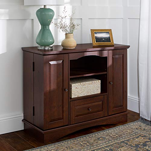 """Walker Edison Furniture Company Tall Traditional Wood Universal Stand with Cabinet Doors and Open TV's up to 48"""" Living Room Storage Shelves Entertainment Center, 42 Inch, Brown"""