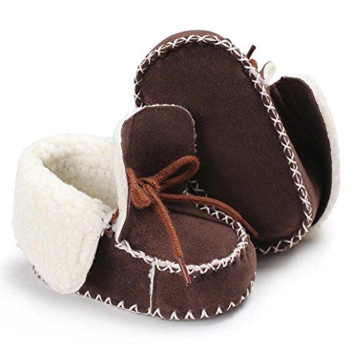 Hunpta Baby Soft Sole Snow Stiefel Soft Crib Schuhe Kleinkind Stiefel mit Samt Schnürsenkel Braun
