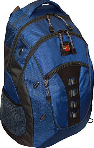 SwissGear® Granite Double Gusset 16 Padded Laptop Backpack -Black-Blue