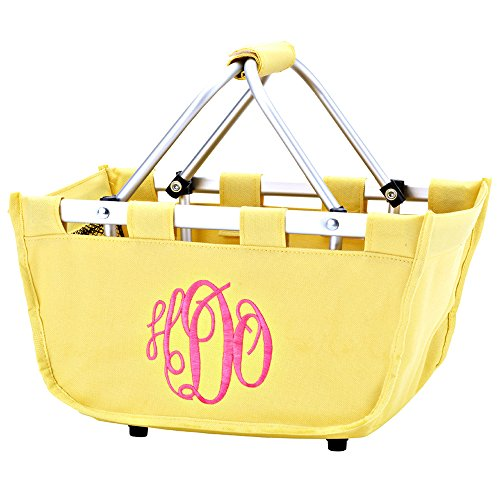 Monogrammed Yellow Mini Market Tote Basket Personalize with Order