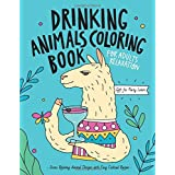 Drinking Animals Coloring Book: A Fun Coloring Gift Book for Party Lovers & Adults Relaxation with Stress Relieving Animal De