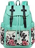 Girls School Backpack Women College Bookbag Girls Travel Rucksack 15.6Inch Laptop Bag (Blue Flower)