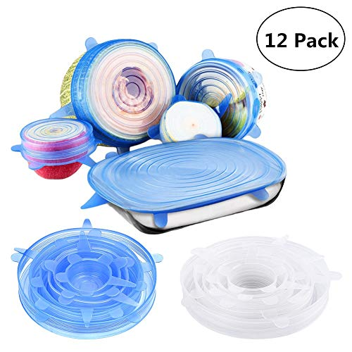 Silicone Lids,12 Packs Seal Food Stretch Wrap Reusable Cover Lids,Heat Resistant, Various Sizes Containers Covers, Microwave and Dishwasher Safe
