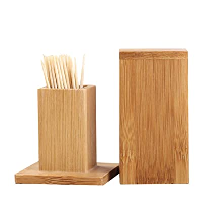 Amazon.com: V-win 2Packs New Bamboo Toothpick Box with Lid ...